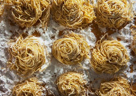 chinese noodles: homemade chinese noodles roll pile