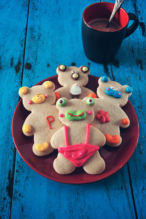 ginger bread: cute animal cookies on red plate with effect color
