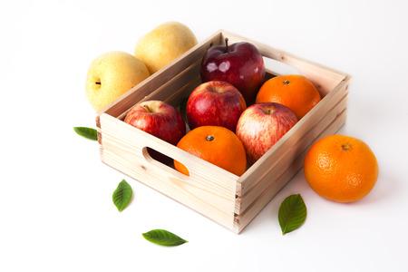 wooden box: vitamin c fruit in wooden box Stock Photo