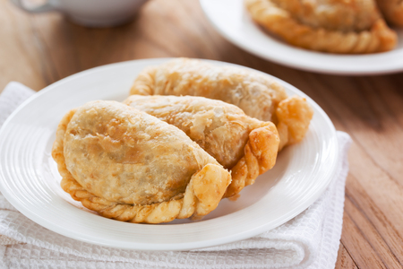 puff: curry puff on plate Stock Photo