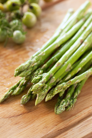 prepare: asparagus prepare for cooking on chopping block