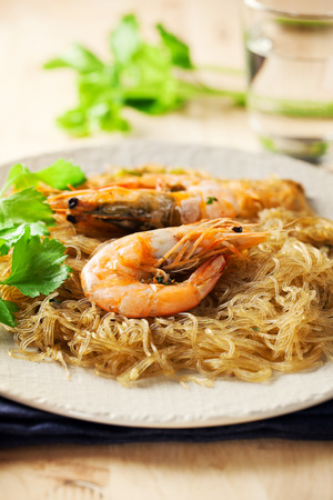 asian food: roast shrimps with glass noodles ,thai cuisine
