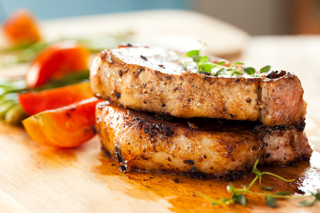 pork chops with vegetable Stock Photo