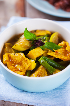 cow pea: spicy pork curry with mixed vegetable in bowl,thai food