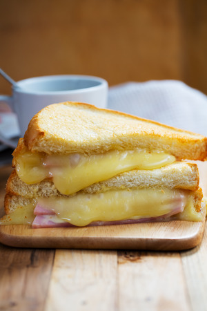 ham cheese sandwich with coffee for breakfast