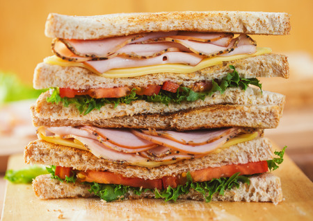 pepper ham cheese sandwich with whole wheat bread for meal Stock Photo
