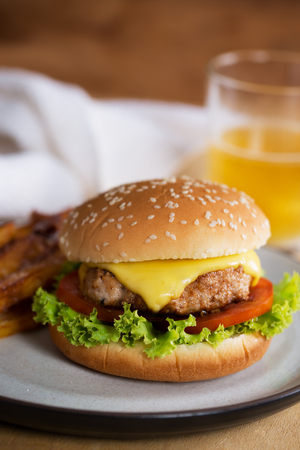 classic hamburger with french fries in plate