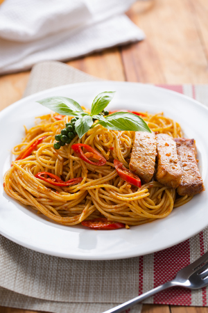 spaghetti spicy pork sauce for meal Stock Photo