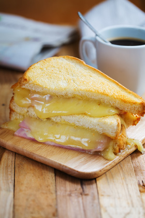 ham cheese sandwich with coffee
