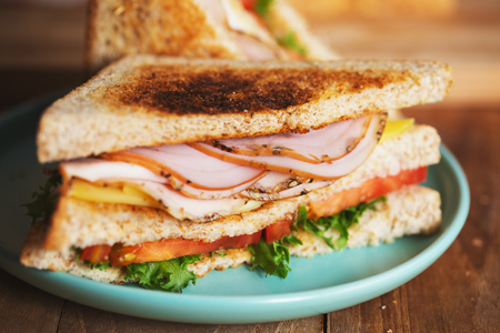 pepper ham cheese sandwich with whole wheat bread Stock Photo