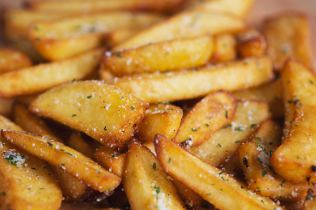 french fries pile Stock Photo