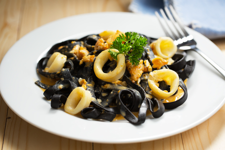 ink squid pasta with cuttlefish for meal Stock Photo