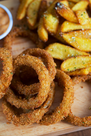 tasty cruncy onion ring and french fries