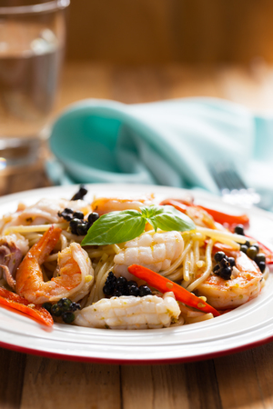 spicy seafood spaghetti for meal