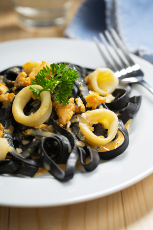 be tasty ink squid pasta with cuttlefish Stock Photo