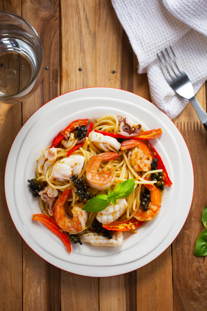spicy seafood spaghetti Stock Photo