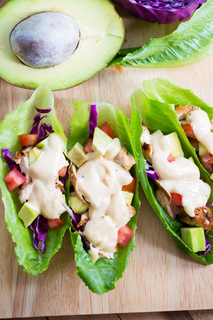 lettuce wrap with chicken,avocado and dressing
