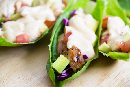 lettuce wrap with chicken,vegetable and dressing Stock Photo