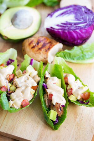 cos lettuce wrap with chicken,avocado and dressing