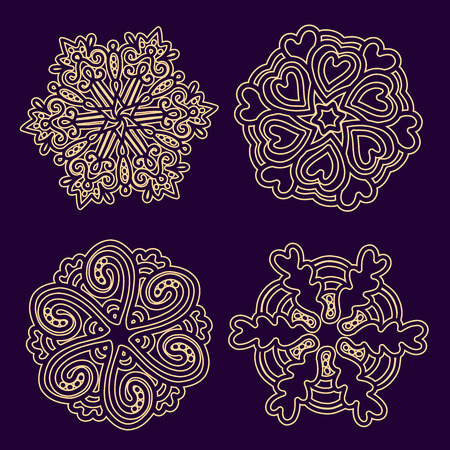 serviette: Vector illustration of monochrome round collection of lacy golden mandala on dark background. Hand drawn flat thin line art design for card, cloth, fabric, invitation, book, serviette, wedding, logo, tattoo, medallion, pattern