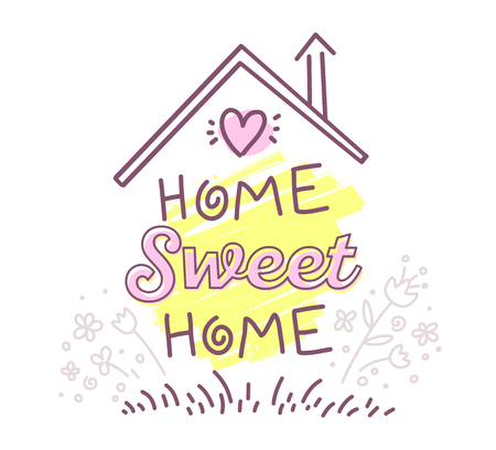housewarming: Vector illustration of home sweet home typography lettering with roof and flowers of pink and yellow colors on white background. Line art design to make a poster, greeting card, postcard, label, print.