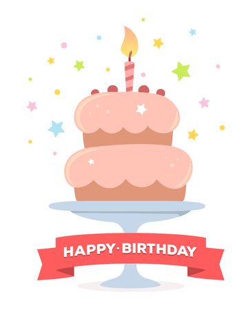 pink cake: colorful illustration. Happy birthday template poster with pink cake with one candle, red ribbon, text on white background. Congratulation and celebration message. Flat style hand drawn design for greeting card
