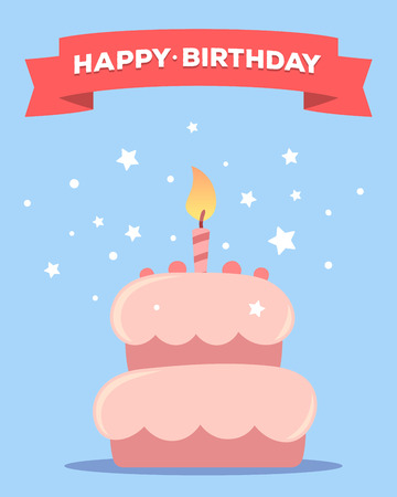 pink cake: colorful illustration. Happy birthday template poster with pink cake with one candle, red ribbon, text on blue background with stars. Congratulation and celebration message. Flat style hand drawn design for greeting card