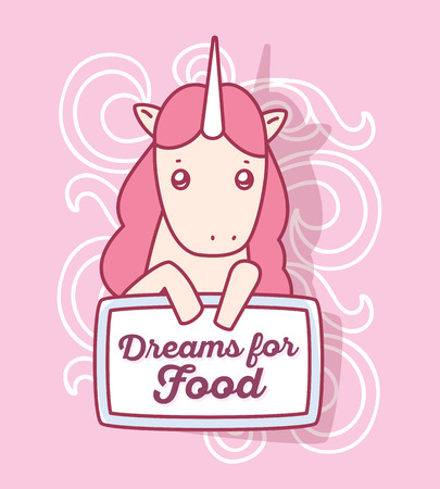 Vector illustration of cute magic unicorn with horn, pink mane keeping board with words dreams for food. Thin flat line art design to make unicorn poster, invitation, greeting card Illustration