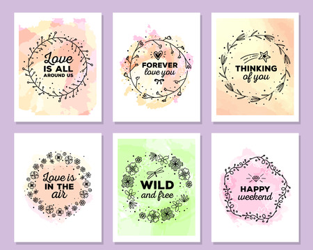 liana: Vector collection of colorful illustration of template with floral frames, flowers, inscriptions on watercolor background. Hand drawn flat doodle art design of flower poster, party card, wedding invitation, postcard
