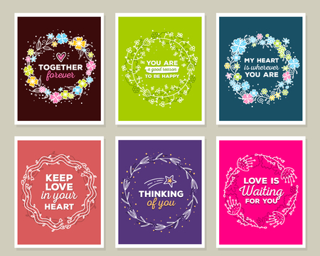 liana: Vector collection of illustration of wonderful template with floral frames, flowers, inscriptions on color and dark background. Hand drawn flat doodle art design of flower poster, party card, wedding invitation, postcard