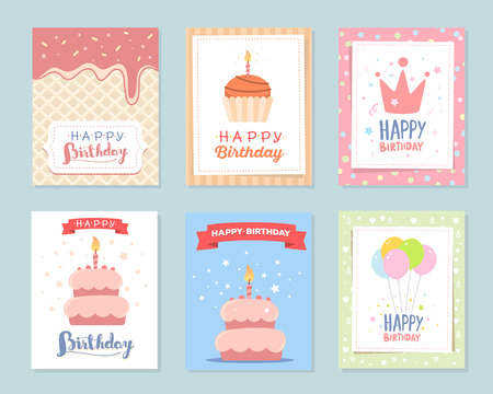 gree: Vector set of colorful illustration. Happy birthday template poster with pink crown, cake with candle, red ribbon, ice cream, bunch of balloons, stars, text on white background. Congratulation and celebration message. Flat style hand drawn design for gree
