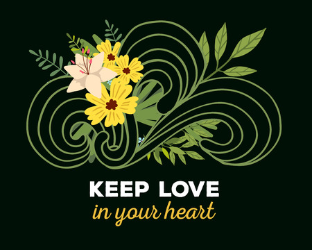 Ilustración del vector de la plantilla floral con hermosas flores, las hojas, las olas y la inscripción en el fondo oscuro. Dibujado a mano diseño de estilo plano del cartel de la flor, tarjeta, invitación de la boda