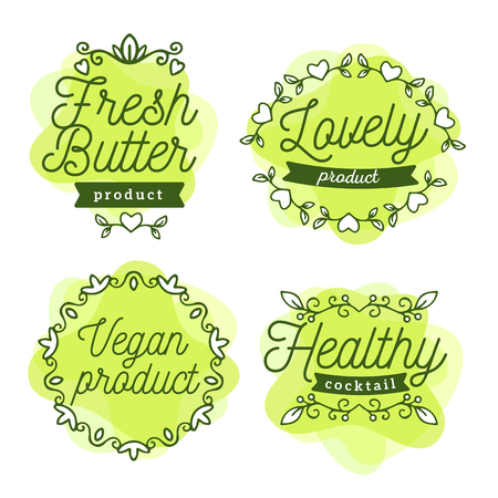 Vector set of eco badges with text. Logo green color templates with floral elements, ribbon, frame for bag, sticker, menu, food package design