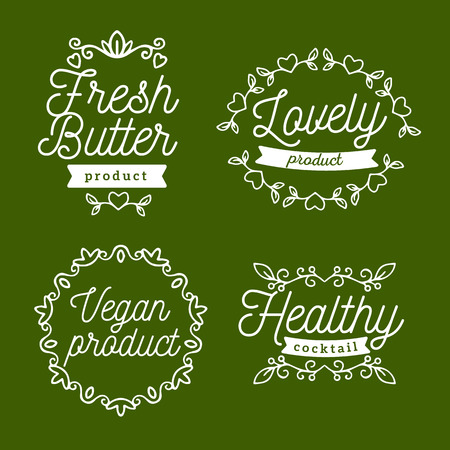 Vector set of eco badges with white text. Logo templates with floral elements, ribbon for bag, sticker, menu, food package design on green background Illustration