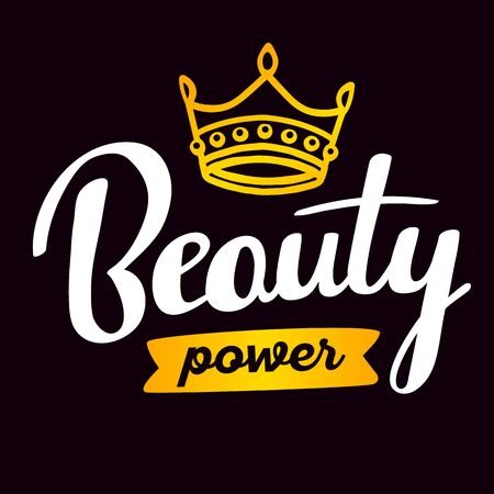 Powerful handwritten vector lettering with retro line art golden crown and colorful ribbon on black background. Calligraphic inscription. Hand drawn lettering print. Apparel, t-shirt, bag, sticker, poster, card design