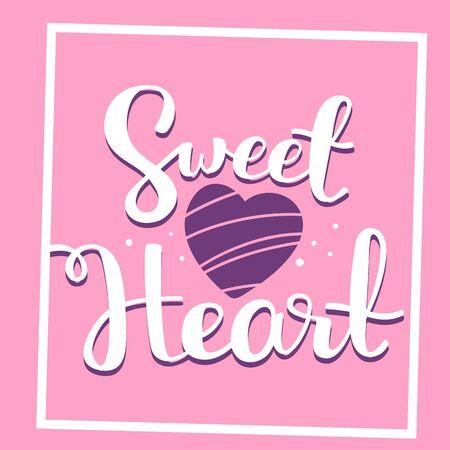 Romantic vector lettering handwritten inscription with shape heart and frame on pink background. Calligraphic inscription. Hand drawn lettering print. Apparel, t-shirt, bag, sticker, poster, card design Ilustração