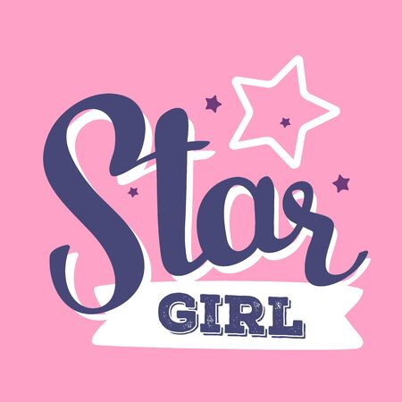 Handwritten vector lettering with stars and white ribbon on pink background. Calligraphic inscription. Hand drawn lettering print. Apparel, t-shirt, bag, sticker, poster, card design