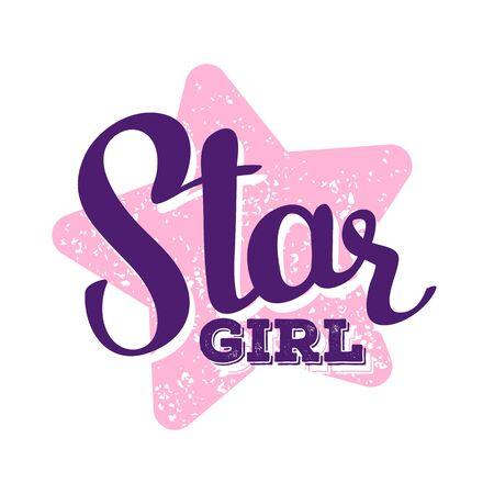 Girlish handwritten vector lettering with big pink star on white background. Calligraphic inscription. Hand drawn lettering print. Apparel, t-shirt, bag, sticker, poster, card design Ilustração