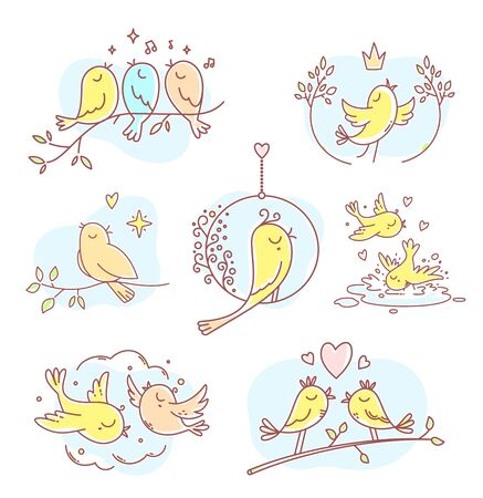 Birds sit on a branch, fly, sing a song, bathe in a puddle. Vector set of illustration of beautiful color spring birds with blue cloud, heart and note. Flat line art style bird for print, web, site, gift card, wedding invitation, romantic banner, greeting card