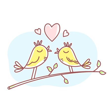 Vector spring illustration of two beautiful wedding love birds sitting on a branch with blue cloud and hearts. Flat line art style bird for print, web, site, gift card, wedding invitation, romantic banner, greeting card 向量圖像