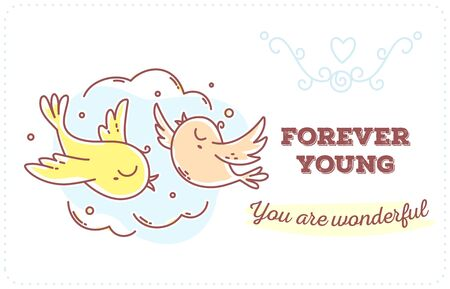 Vector template with illustration of romantic flying two birds in the sky with inscription. Flat line art style bird for print, web, site, gift card, romantic banner, greeting card