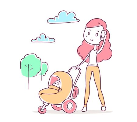 Vector illustration of beautiful happy girl in pants walking with baby in a stroller and talking on the phone. Hand drawn flat line art style color girl with pink hair for t-shirt print, web, site, card Vettoriali