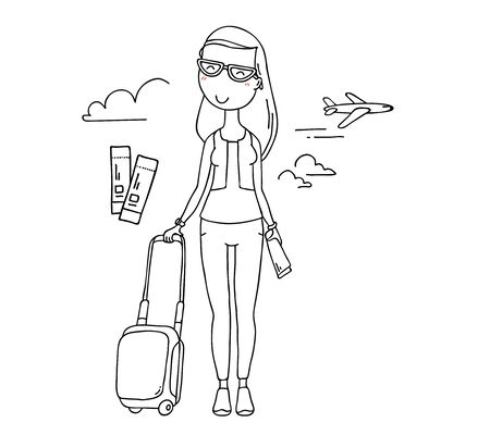 Vector illustration of happy traveler woman in sunglasses with suitcase on white background. Hand drawn flat line art style without color young girl for t-shirt print, coloring book, web, tourist site Illusztráció