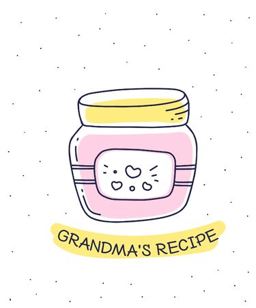Vector illustration of pink color glass jar with homemade healthy jam, label on white background with inscription. Flat hand drawn line art style for recipe book, web, site, invitation, greeting card