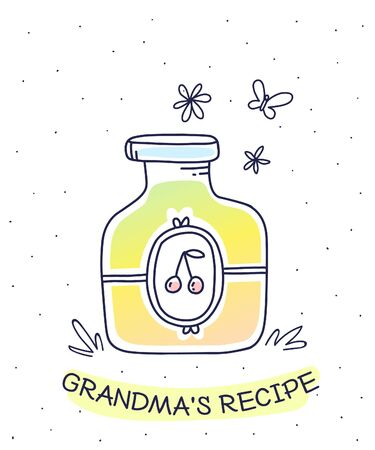 Vector illustration of color glass jar with homemade cherry jam, label on white background with inscription and butterfly. Flat hand drawn line art style for recipe book, web, site, invitation, greeting card