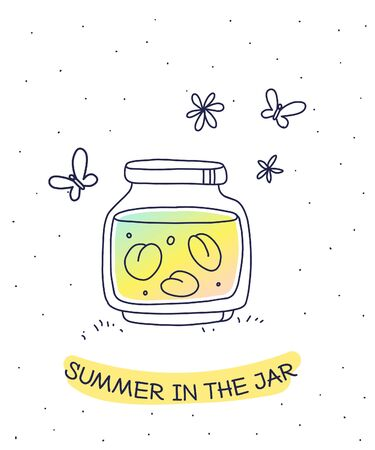 Vector summer illustration of color glass jar with homemade jam on white background with inscription and butterfly. Flat hand drawn line art style for web, site, invitation, greeting card Stock Illustratie