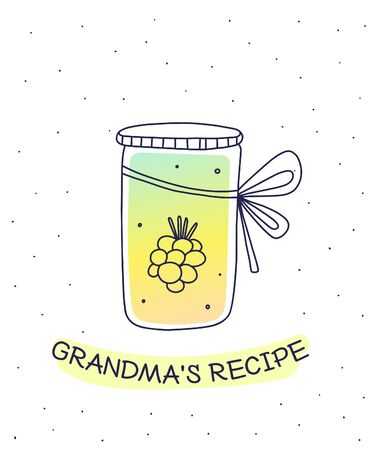 Vector illustration of color glass jar with homemade raspberry jam on white background with inscription. Flat hand drawn line art style for recipe book, web, site, invitation, greeting card