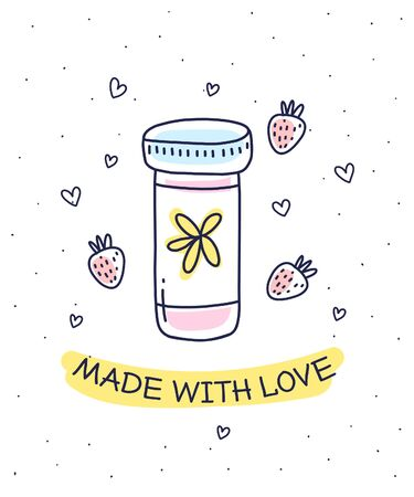 Vector illustration of glass jar with homemade jam on white background with inscription, strawberry, heart. Flat hand drawn line art style for print, web, site, gift card, wedding invitation, romantic greeting card