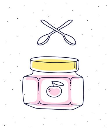 Vector illustration of glass jar with apple jam and two spoons on white background with dots. Flat hand drawn line art style for logotype, web, site, invitation, greeting card