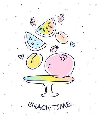 Vector illustration of many colorful fruits and plate on white background with dots and title. Flat hand drawn line art style for cooking web, site, banner, greeting card